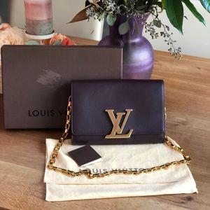 Auth Louis Vuitton quetsche louise calf GM Clutch